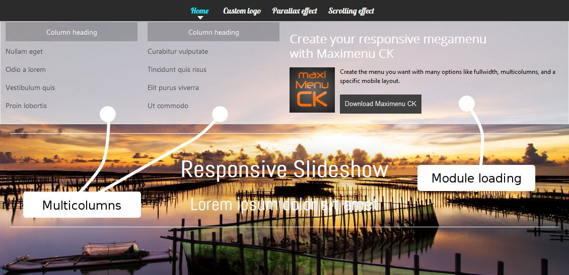 Demo template creator ck one page responsive parallax template pronofoot35fo Choice Image