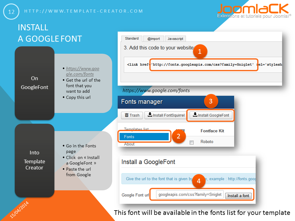 Adding your own font in your joomla template for Free joomla template creator software