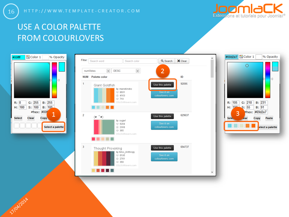 Select a color palette from ColourLovers.com and use it for your joomla template